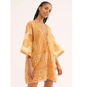 Free People Easy Day Romper in Peachy Combo